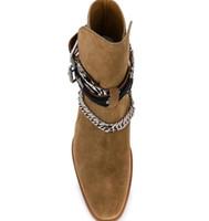 Sıcak Satış Yeni Sezon Erkek Ami Ri Zincir süslenmiş Bilek Boots Bandana Yan Toka Çakma Yuvarlak Burun Ayakkabı yazdır