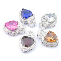 Mix 5PCS do arco-íris New Luckyshine presente 925 prata rosa azul do coração Morganite Lady Partido Topaz Garnet Gemstone Colares Para