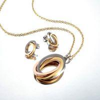 مجموعة مجوهرات للنساء الفضة الذهب اللون جولة تصميم قلادة أقراط حزب المجوهرات