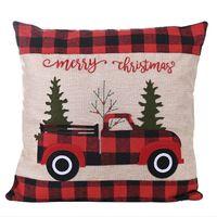 زينة عيد الميلاد وسادة القضية يغطي الجاموس منقوشة رمي xtmas شجرة أحمر شاحنة وسادة غطاء jk2010xb