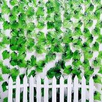 Belle simulation Fleurs décoratives Vert Vert Artificial Vignes de raisin de raisin pour la maison Décoration murale Fournitures de décoration de fête