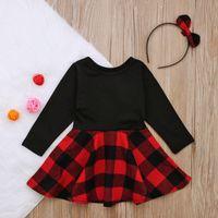 Ins Stilleri Toddler Çocuklar Bebek Kız Giyim Elbise Noel Bantlar 2 adet Giysi Prenses Parti Elbiseler Kızlar