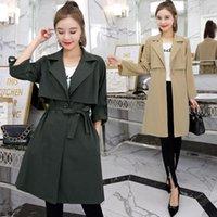 Billig Wholesale neue Art und Weise 2020 Winter-heiße verkaufende Frauen Casual Windjacke lange Graben-Mantel mit Gürtel Weiblicher Trench