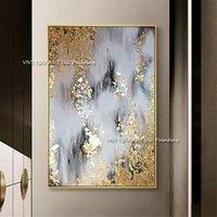 Nieuwe 100% handgeschilderde abstracte goud kunst muur foto handgemaakte gouden boom canvas olieverfschilderij voor woonkamer home decor LJ201130