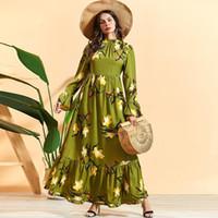 SISKAKIA MAXI Kleid Elegante Stehkragen Flare Langarm Eine Linie Kleider Grün Plus Size Lily Gedruckt Arab Frauen Kleidung 2020 LJ200824