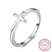 Todo el salesimbol de la fe Forma cruzada 925 Anillos de dedo de plata esterlina para las mujeres Joyería El mejor regalo para los amigos (RI102897) 1