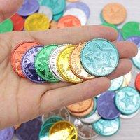 100pcs Pirate Gold Coin Seven Colour Lucky Coin Wish Plastic Puntelli Natale Evento Game Treasure Gold Coin1