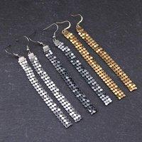 Bohemian Women Gold Black silver color Metal Sequins Long Tassel Earrings Hanging Drop Dangle Party Ear Jewelry Ornaments Gift