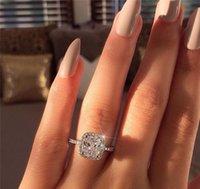 Anillo de promesa 925 Cojín de plata esterlina Corte 3CT Anillos de boda de compromiso de diamante para joyería de moda para mujer