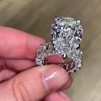 10ct Big Diamond Ring Vintage Jewelry 925 Sterling Silver Sterling Cocktail Pear Cut Blanco Topaz Gemstones Boda de la boda Anillo 50 N2