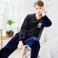 classic velvet pajamas men' s long sleeve winter Pullove...