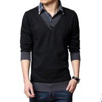 Browon Slim свитер мужчины осень зима толщины теплые тонкие свитера случайные поддельные две дизайн платье пуловер мужские хлопок1