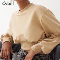 Kadın Hoodies Tişörtü Cybill Katı Kırpılmış Kadınlar 2021 Uzun Kollu Streetwear O Boyun Kazak Kısa Kazak