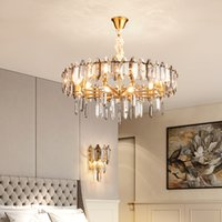 Contemporary crystal chandelier lighting for living room bedroom dining room newest crystal hanging lamps gold  led pendant lights