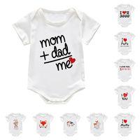 Летний малыш новорожденных Rabom Rompers маленький мальчик девушки ползунки комбинезоны буквы мультфильм белые пижамы младенческие ребенка цельные одежда G12703