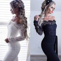 Neueste Frauen Lace Floral weiße Farbe Langarm-Overall-Spielanzug Clubwear Overall Bodycon Partei Hosen weiblich