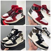 2020 Yeni 1 Yüksek OG Karanlık Mocha WMNS Saten Yılan Erkek Basketbol Ayakkabı Eğitmenler 1 S Sneakers Spor Des Chaussures Zapatos Kutusu Ile