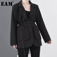 [EAM] Femmes Noir Taille Blazer Big Drawstring New revers à manches longues Loose Fit Jacket Fashion Spring Tide Automne 1S34801 201104