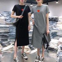 Повседневные платья uneimirry 2021 лето плюс размер печать женщин платье с коротким рукавом о-шеи средняя длинная красная любовь шаблон футболки одежда1