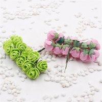 144 pz Mini schiuma rosa fiori artificiali per la casa decorazione della macchina da sposa FAI DA TE Pompom corona decorativa fiore nuziale fiore finto fiore DHD2756