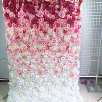 SPR Roll Up Düğün Çiçek Duvar Sahne Backdrop Pembe Ombre Stil Çiçek Duvar Paneli Yapay Çiçek Masa Koşucu Kemeri Çiçek T200716