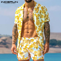 Men Hawaiian Sets Printing 2020 Summer Short Sleeve Button S...