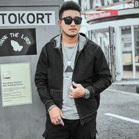 Hombre Lfszy Fall / New Winter Plus Size Slov Stretch Denim con sudadera con capucha Jeans Black Jacket 1SG9