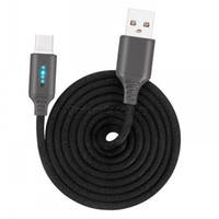 LED USB C Tipi Şarj Kablosu 2.1A Akıllı Samsung Huawei için Çizgili Naylon Örgülü Veri Mikro USB Çinko Alaşım Kordon Şarj Akıllı hızlı