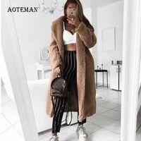 Piel de mujer Faux otoño abrigo de invierno mujeres 2021 casual suelto sólido largo peluche femenino vintage talla grande chaquetas gruesas abrigos blanco 5xl1
