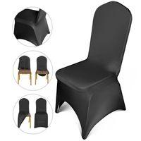VEVOR 50/100 stücke Black Chair Covers Polyester Spandex Chair Cover Bogen Front Stretch Slipcover für Hochzeitsfeier Bankett 201123
