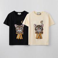 Lentejuelas para mujer de las camisetas de las muchachas del gato de dibujos animados Imprimir Arriba las mujeres ocasionales al aire libre camiseta de la ropa de moda juvenil Moda Tee Shirts