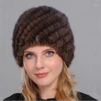 Cappelli invernali da donna foderata naturale pelliccia vera cappuccio nuovo pelliccia maglia cappello genuino cappello da donna cappello ananas caldo femmina mZ0441