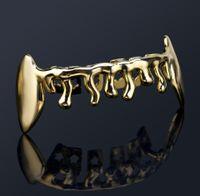 18k Золотые зубы Брекеты Punk Hip Hop многоцветные алмазные Пользовательские нижние зубы Грильц Стоматологический рот Фанг Грильс зубной крышкой Вампир рэпер WMTAUYA