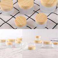 Bottiglie rotonde vuote contenitori cosmetici Grana del legno Copertura Occhio glassa di crema di vasi di vetro separate 2 7RX F2