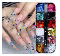 Ongles Papillon 3D Glitter Paillettes Laser papillon Nail Art Supplies 12 couleurs Holographic Nail Sequin papillon Nails Supply design coloré