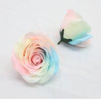 Grandi 8 cm colorato rosa sapone fiore teste di fiori arcobaleno eterna fiore fiore creativo scatola regalo bouquet materiali fatti a mano 9pcs