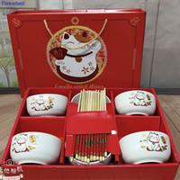 Geschenk Keramik Geschirr Glücklicher Katzen Geschirr Set Blaue und weiße Porzellanschale Keramikschale Geschenkbox Abendessen Sets Bone China Y200610