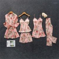 여성 잠옷 Daeyard 여성용 잠옷 실크 꽃 전반적인 인쇄 5pcs 파자마 세트 새틴 잠옷 섹시한 레이스 Pijama Nightie 홈 옷
