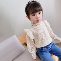 XZXY INS Modeller Girls кружева футболки блузки принцесса осенью летать полные рукава твердые топы пирена рубашки детская детская одежда