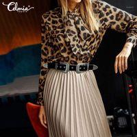 Celmia 2020 أزياء ليوبارد طباعة قمم المرأة طويلة الأكمام بلوزة عارضة فضفاض القوس التعادل تونك قمصان السيدات أنيقة العمل blusas 5xl1