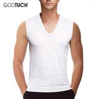 Mens Undershirts Branco Camisa sem mangas camiseta V Neck Underwear Undershirt Bodybuilding Colete Acabo de fitness Plus Size 5 ~ 6XL Tanques 50671