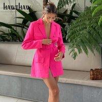 Hawthaw النساء الربيع أزياء الصيف كم طويل الخامس الرقبة السيدات السترة مصممة معطف الأعمال 2021 أنثى الملابس الشارع