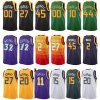 مطبوعة كرة السلة Rudy Gobert جيرسي 27 دونوفان ميتشل 45 مايك كونلي 10 بووات بوغدانوفيتش 44 Clarkson 00 City City Edition أخضر أبيض
