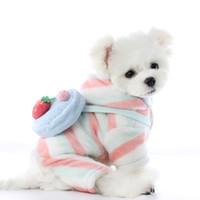 2020 الشتاء الكلب الملابس لطيف الفراولة الكلب بذلة بوميرانيا يوركشاير ترير زي جرو القلطي شنوار الملابس الحيوانات الأليفة