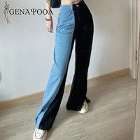 Genayooa Vintage высокой талией джинсы женские повседневные широкие ноги джинсы черные Уличная Джинсовый Жан брюки 2020 Зима Осень