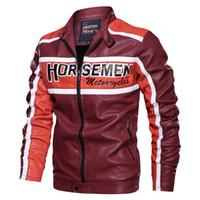Veste moto Automne Hiver Hommes Casual Col Stand Zipper Veste en cuir pour homme épais molleton Blouson hommes
