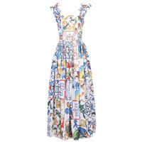 Fashion Runway Vestido de Verão 2020 Nova Curva Mulheres Spaghetti Strap Backless Blue E Branco Pôchas Floral Imprimir Vestido Longo T1101