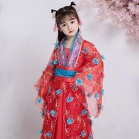 Traje clásico tradicional de estilo clásico de la princesa asiática para los niños para mostrar 100cm-155cm altura rojo rosa1