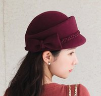Partie de laine d'hiver 100% Fedora peintre peintre chapeau Bérets Bowknot Femmes pour chapeaux Fascinator LJPW Homes2007