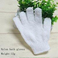 Nylon bianco secco doccia corpo esfoliante guanti guanto del bagno Five Fingers bagno bagno Guanti casa e giardino